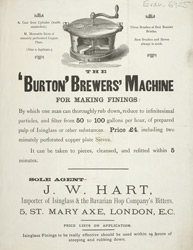 Advert for a brewer's finings machine
